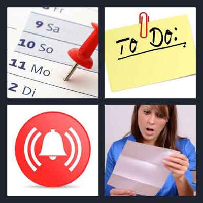 4 Pics 1 Word Answer Reminder 4 Pics 1 Word Daily Puzzle