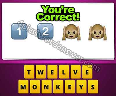 Guess The Emoji 1 2 Two Monkeys 4 Pics 1 Word Daily