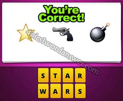 What does the star gun bomb emoji mean in guess the emoji pop game ?