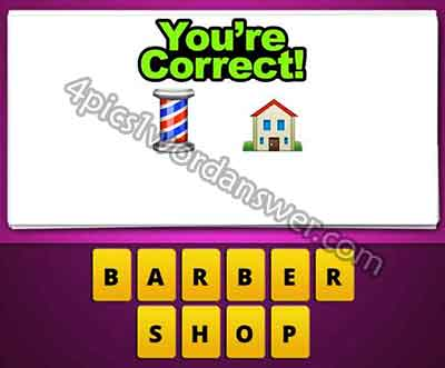 Guess The Emoji Striped Pole And House 4 Pics 1 Word