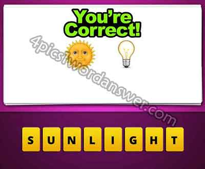 Guess The Emoji Sun and Light Bulb | 4 Pics 1 Word Daily ... Sun And Light Bulb Emoji