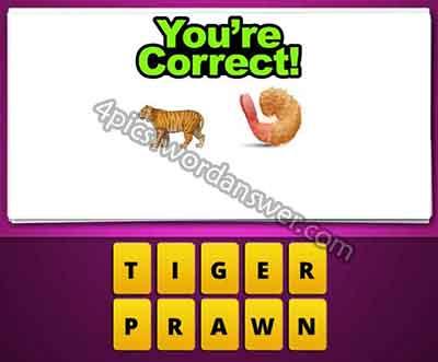 Guess The Emoji Tiger And Shrimp 4 Pics 1 Word Daily