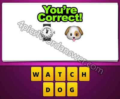 What does the watch and dog emoji mean in guess the emoji pop game  Guess The Emoji Watch And Clock