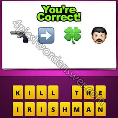 emoji-gun-right-arrow-4-leaf-clover-man