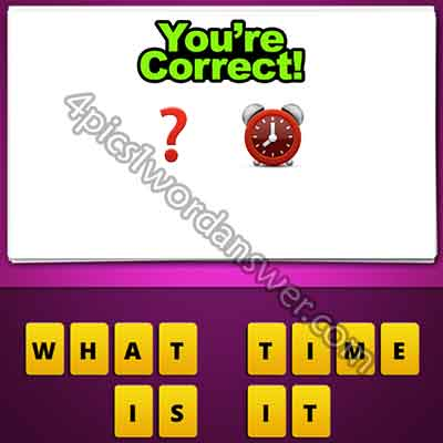 What does the red ? and alarm clock emoji in guess the emoji pop game