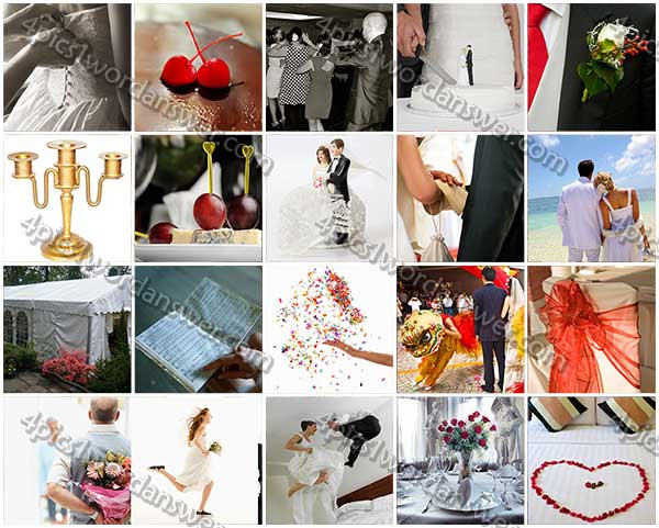 100 pics weddings level 81 100 answers 4 pics 1 word for Canape topper crossword