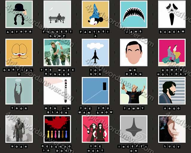 ... 21 - 40 Answers | 4 Pics 1 Word Game Answers What's The Word Emoji: http://4pics1wordanswer.com/hi-guess-100-movie-level-21-40-answers/