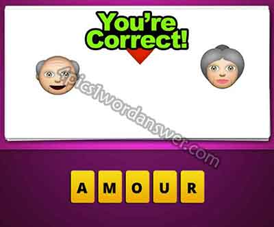 guess the emoji old man heart old woman 4 pics 1 word