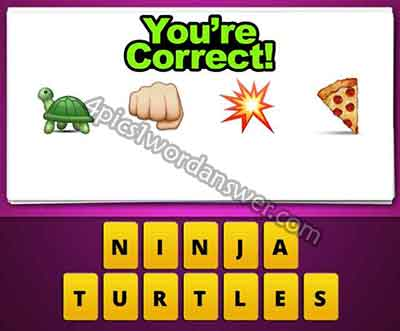 Guess The Emoji Turtle Fist Punch Spark Pop Pizza 4 Pics 1 Word Daily Puzzle Answers