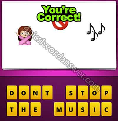 emoji-woman-hand-crossed-no-sign-music-notes